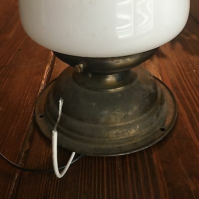 Vintage Antique Flush Mount Fixture Wired Milk White School House Shade Great!!! 2