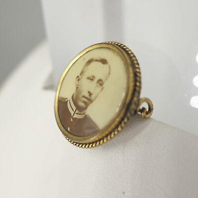 Antike Foto- Brosche aus Gold- Double, original Foto um 1900, Durchmesser 26 mm 3