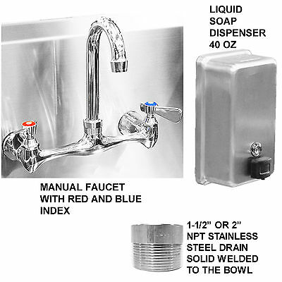"Hand Sink 100"" Hd Stainless Steel 5 Users Manual Faucets 2 Drains Made In Usa"