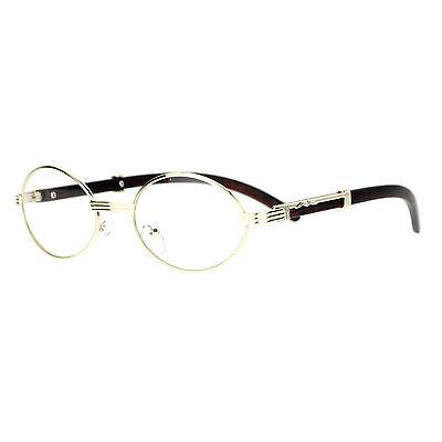 Vintage Wood Buffs Fashion Eyeglasses Oval Frame Clear Lens Glasses UV400