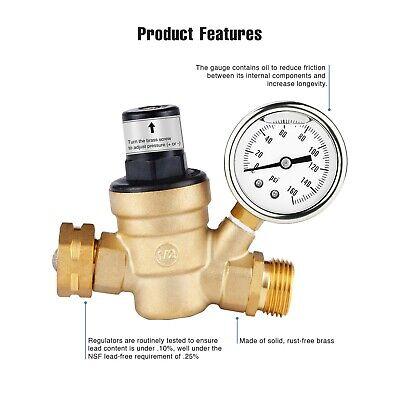 "Water Pressure Regulator For RV Lead-free Brass Adjustable Reducer Gauge 3/4"" 3"