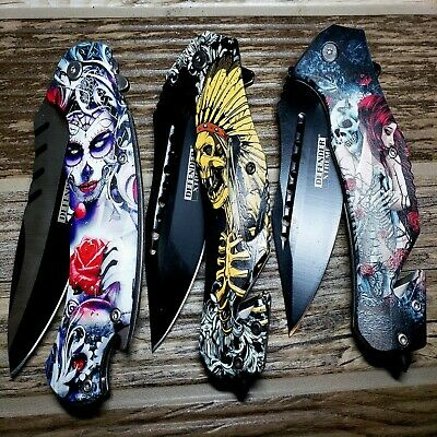 Print Handle Spring Assisted Pocket Knife Folding Tactical Open Serrate Blade 3