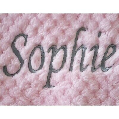 Personalised Baby Waffle Blanket Pink Grey Font Soft Newborn Christening Shower 3
