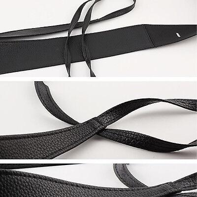 Womens Stretch Buckle Waist Belt Bow Wide Leather Elastic Corset Waistband