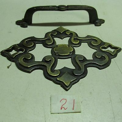 BRASS PULL HANDLES WITH BACK PLATES OLD VINTAGE used 3