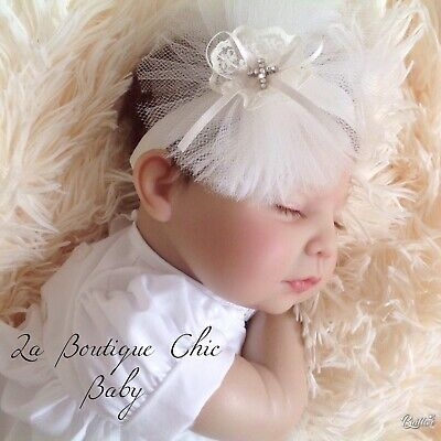 Baby Christening/Baptism White/Ivory Tulle Headband or Hairclip Flower Girl Prop 3
