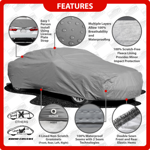 110 Layer Car Cover Outdoor Waterproof Scratchproof Breathable 60 70 80 90 100 B