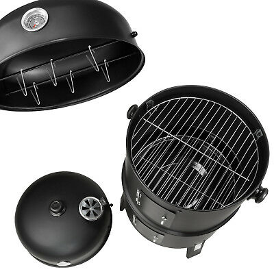 3in1 BBQ GRILL BARBECUE GRILLE WAGON CHARBON DE BOIS FUMOIR SMOKER 5