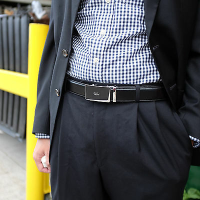 Falari® Men's Genuine Leather Dress Ratchet Belt 35mm Adjustable Size 7010 4