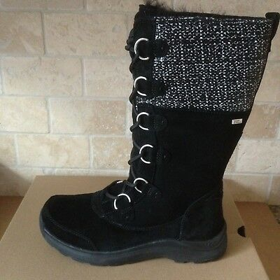 19b9337b671 UGG ATLASON FRILL Black Waterproof Leather Toscana Snow Boots Size US 9  Womens