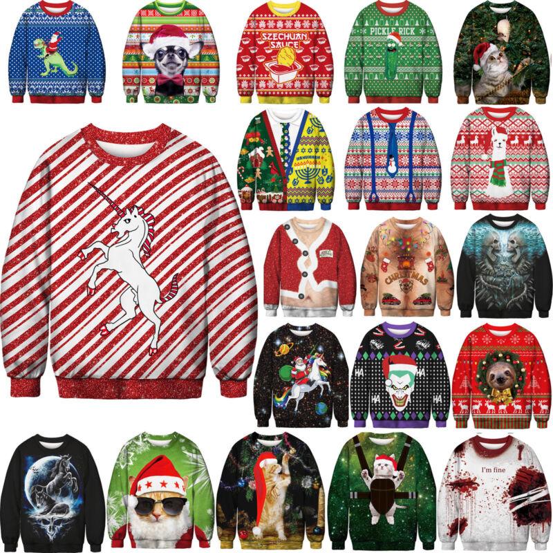 Unisex Ugly Christmas Sweater Santa Xmas Pullover Jumpers Casual Sweatshirt Tops 2
