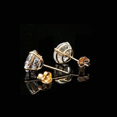 3Ct. Round Cut Created Diamond Earrings 14K Yellow Gold Studs Briliant Solitaire 3