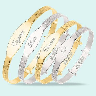 Personalised Christening Bangle Baby Toddler Children's Real 925 Silver Bracelet 3