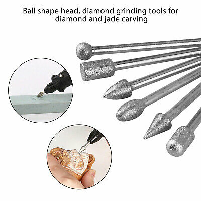 20pc 120 Grit Diamond Burr Set Drill Bit Set Fit For Dremel Tool Rotary Grinding