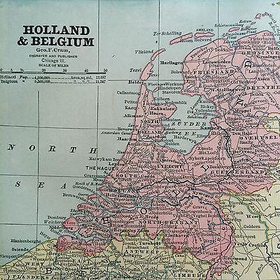 Spain portugal denmark belgium rare original 1885 antique crams 1 of 10 spain portugal denmark belgium rare original 1885 antique crams world atlas maps gumiabroncs Images