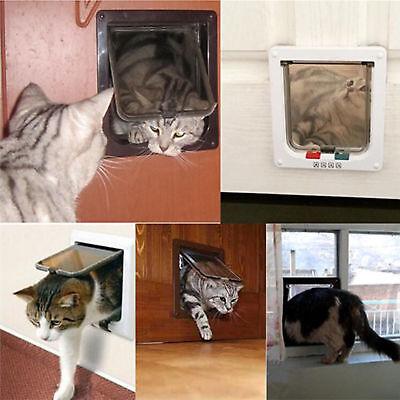 Pet door 4 way locking Small Medium Large Dog Cat Flap Magnetic White Frame 12