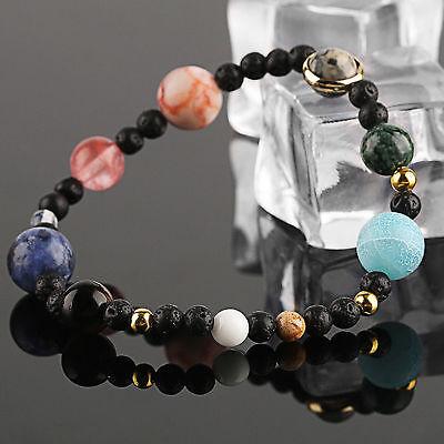 Neue Weben Armband Galaxy Sonnensystem Acht Planeten Thema Naturstein Perlen DE 4