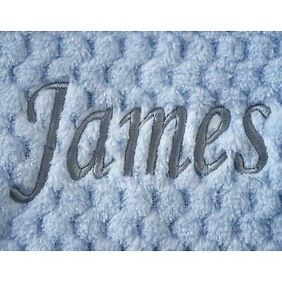 Personalised Baby Waffle Blanket Blue Grey Font Soft Newborn Christening Shower 3