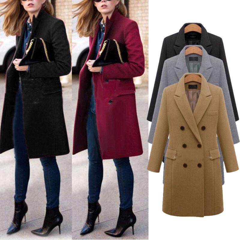 Womens Winter Office Pea Coat Trench Jacket Long Blazer Coats Outwear Plus Size 2