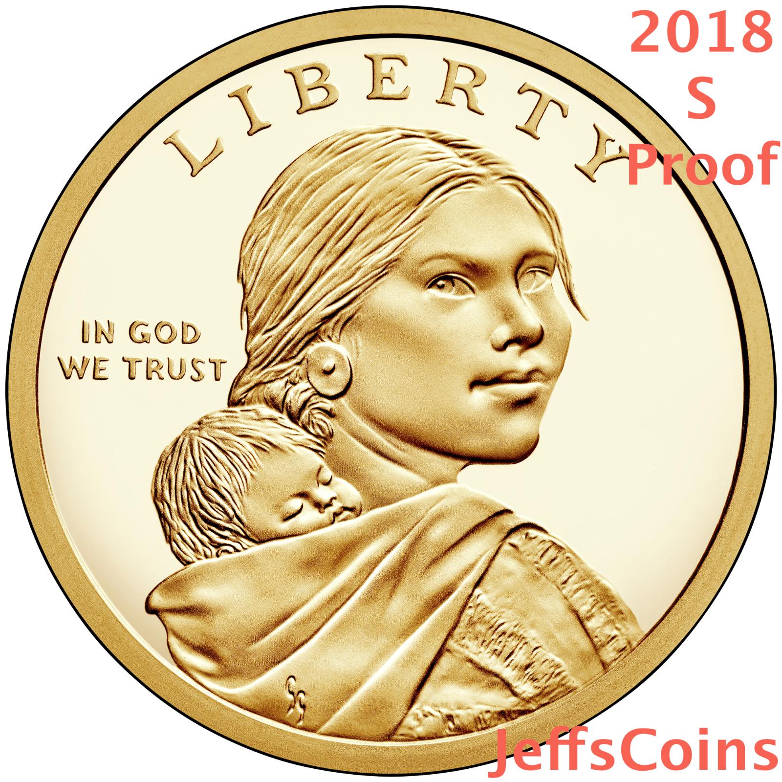 2018 PDS SACAGAWEA NATIVE AMERICAN JIM THORPE WA-THO- HUK + Proof Dollar P D S 4