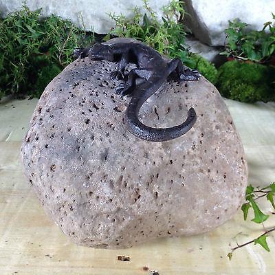 Garten Terrasse Bachlauf Naturstein Sandstein Beet Figur Echse Geko Eidechse Gartenfiguren & -skulpturen