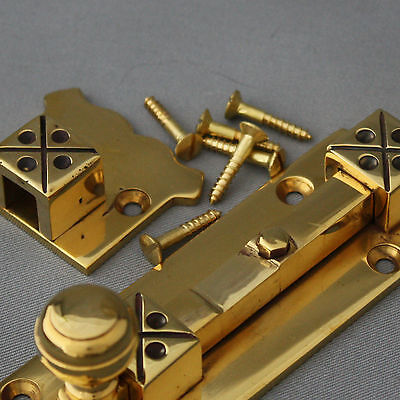 Brass Arts and Crafts Style Door Bolt 5