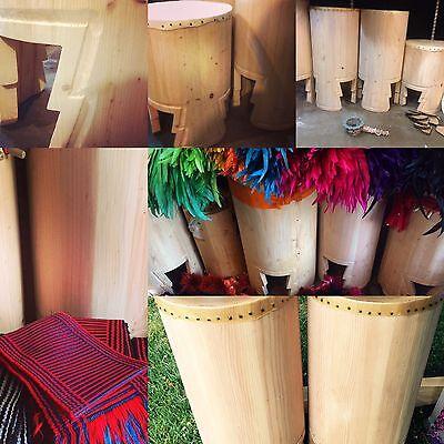 """Huehuetl Drum 24"""" X 15"""" Native Drum Aztec Dance"""