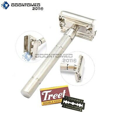 Metal Chrome Safety Razor Handle Double Edge 5 Blades Traditional Shaver 3