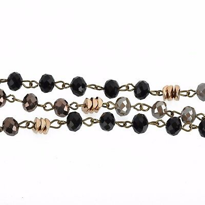 1yd Gray Crystal Rosary Chain, bronze, black, gold heishi beads, 8mm fch0820a 4