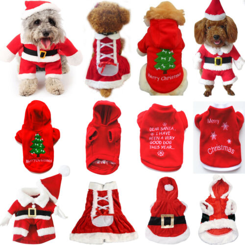 UK Pet Cat Dog Christmas Outfit Costumes Sweater Hoodie Dress Xmas Clothes Coat 10