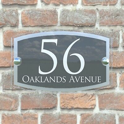 Anthracite House Sign Plaques Door Numbers Personalised Address Acrylic 4