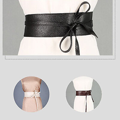 Womens Stretch Buckle Waist Belt Bow Wide Leather Elastic Corset Waistband