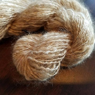 CRAZY Handspun Satin Angora Yarn Natural Fawn 30 yds lace to fingering wt 2 ply 8