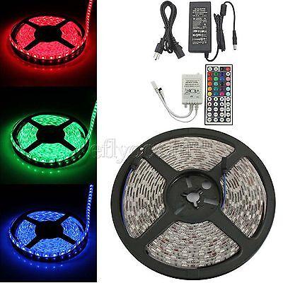 1-30m RGB LED Strip Light Waterproof SMD 5050 Flexible IR Controller Adapter 12V 5