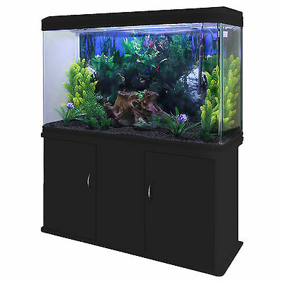 Fish Tank Aquarium Complete Set Up Tropical Marine Black Cabinet 4ft 300 Litre 3