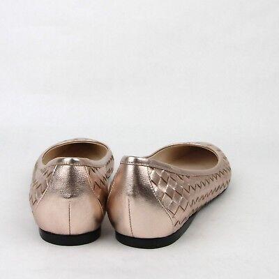 $570 Bottega Veneta Women Intrecciato Rose Gold Leather Slip On Shoe 428871 5710