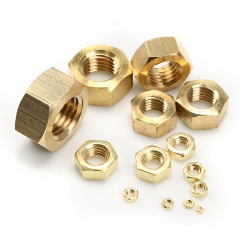 Lot of Brass Machine Screw Hex Hexagon Nuts Hardware M2 M3 M4 M5 M6 0.4-1.0mm
