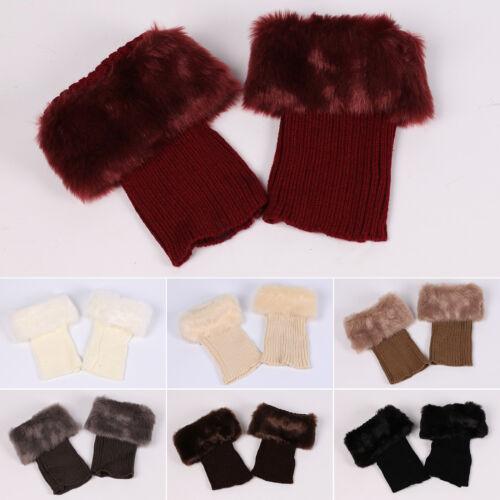 AU Women Winter Warm Knit Boot Cuff Fur Trim Knit Toppers Boot Socks Leg Warmers