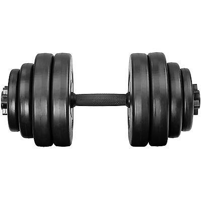 2x Set d'haltères courts revêtement plastique poids barres musculation 30 kg 2