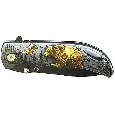 "7"" GRIZZLY BEAR SPRING ASSISTED FOLDING POCKET KNIFE Fantasy Blade Open EDC 3"