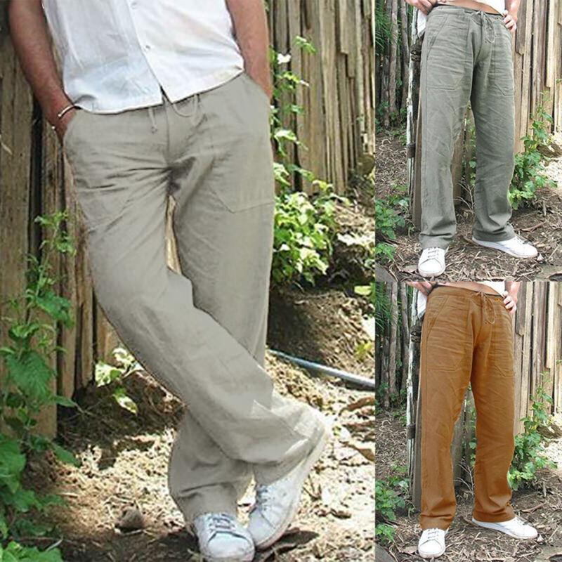 ae61d4928bbae HERREN LEINENHOSE SOMMERHOSE Freizeithose Weites Bein Hose Straight  Stoffhose