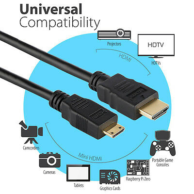 MINI HDMI to HDMI Cable Cord 4K Adapter Camera HDTV Camcorder 3FT 6FT 10FT 15FT 9