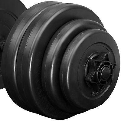 2x Set d'haltères courts revêtement plastique poids barres musculation 30 kg 3