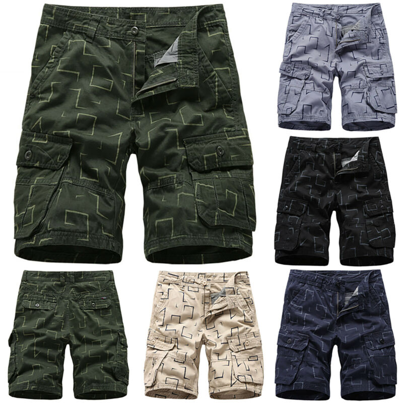 Mens Cargo Combat Work Shorts Trousers Army Military Hiking Camping Half Pants 2