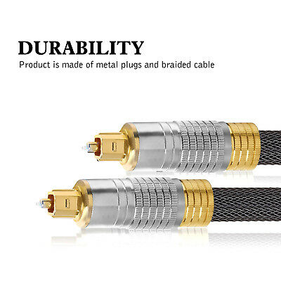 Ultra Premium Toslink Optical Fibre Cable Gold Plated 5.1 7.1 7.2 Digital Audio