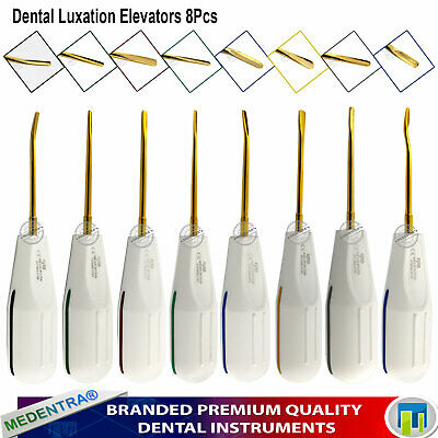 8Pc Oral Surgery Elevators Luxating Extracting Teeth PDL Root Elevator Gold Tips 2