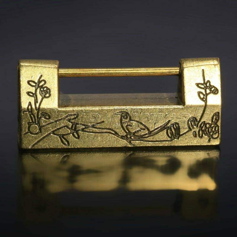 Chinese Vintage Antique Lock Old Style Locks Excellent Brass Carved Word Padlock 4