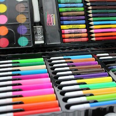 90pc Art Set Kids Watercolour Pens Crayons Pencils Sponge Scissors Oil Pastels 6