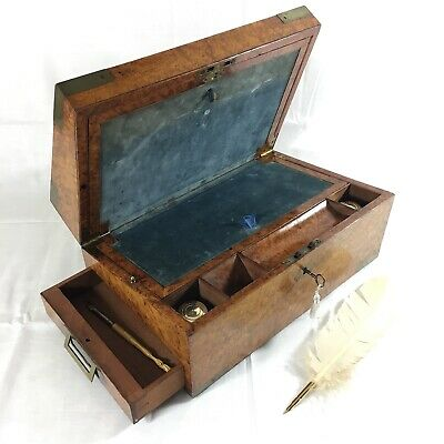 EARLY VICTORIAN Fine Burr Elm Writing Slope Brass Inlay Drawer C1850 Quality 3