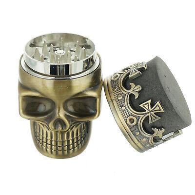 Tobacco Herb Spice Grinder Bronze Punk King Skeleton Skull Smoke Crusher Tool US 2